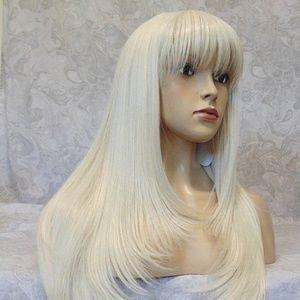 Long Silky Straight Platinum Highlighted Wig